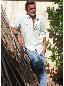 "Camisa de lino ""Verano Cayetano"" blanco roto"